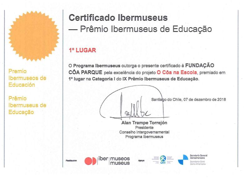 """O Côa na Escola"" wins the Ibermuseus Education Prize"